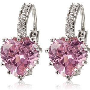Jewelry - Gorgeous white gold plated Pink Crystal earrings